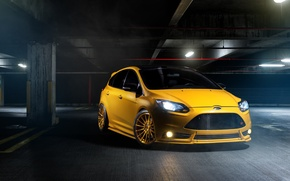 Picture Ford, focus, Parking, Focus, Ford, yellow, front