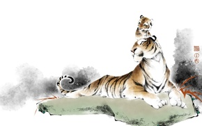 Picture nature, tiger, family, art, tiger
