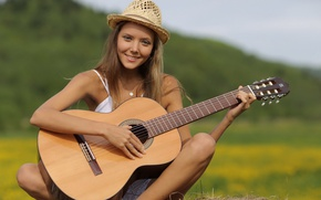 Picture girl, guitar, Music