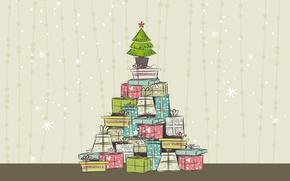 Wallpaper tree, new year, Christmas, vector, gifts, holiday Wallpaper, Christmas illustration