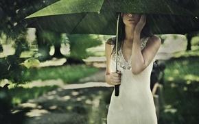 Wallpaper summer, girl, rain, mood, umbrella