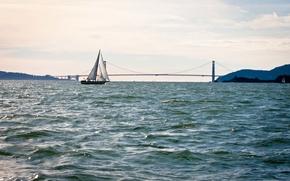 Picture sea, bridge, yacht, sail