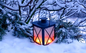 Picture winter, snow, nature, candles, lantern, light, nature, winter, snow, candles