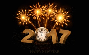 Wallpaper time, lights, background, holiday, arrows, black, graphics, watch, new year, salute, figures, fireworks, gold, dial, ...