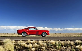 Picture road, field, the sky, grass, clouds, hills, Mustang, Ford, horizon, wheel, 1965, solar, side