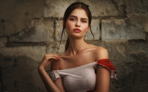 Picture summer, look, girl, face, mood, sweetheart, model, portrait, earrings, dress, brunette, hairstyle, beautiful, bra, shoulders, ...