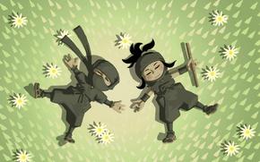 Picture grass, chamomile, two, flute, lie, Mini Ninjas