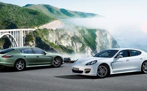 Picture white, Porsche, Panamera, green