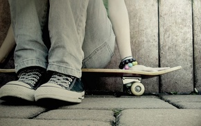 Wallpaper girl, sneakers, bracelets, skate