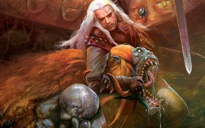 Wallpaper striga, medallion, sword, the witcher, the Witcher