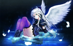 Picture water, girl, smile, wings, anime, feathers, art, quiz rpg world of mystic wiz, yuitsuki1206