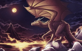 Picture the sky, stars, night, clouds, fiction, rocks, the moon, dragon, wings, tail, horns