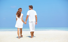 Picture sea, beach, girl, romance, male, lovers, Stay