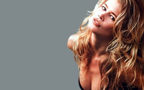 Picture girl, Girls, blonde, on a gray background, Claudia Shiffer, famous super model