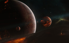 Picture stars, planet, the moon, the formation of, star system