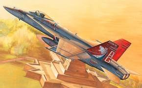 Picture art, painting, jet, F/A-18C Hornet