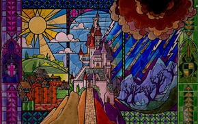 Picture castle, beauty, tale, stained glass, disney, disney, castle, Sleeping beauty, sleeping beauty