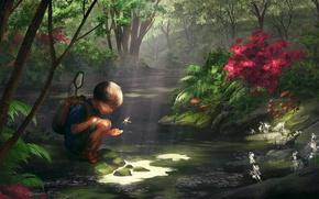 Picture Figure, Boy, Stream