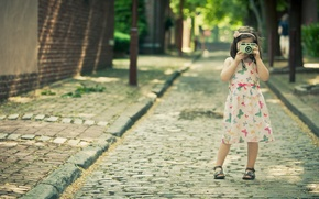 Wallpaper road, summer, girl, joy, happiness, freshness, children, girls, mood, street, girls, dress, the camera, girl, ...