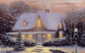 Picture winter, sunset, toys, tree, the evening, Christmas, house, Thomas Kinkade, Kincaid, CHRISTMAS, COTTAGE, Christmas Eve