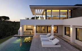 Picture light, Villa, the evening, pool