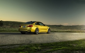 Picture the sky, mountains, yellow, bmw, BMW, yellow, back, f82