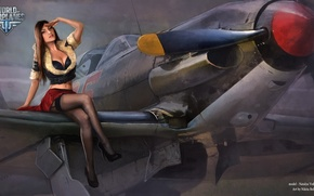 Picture girl, the plane, stockings, fur, girl, aviation, air, MMO, Wargaming.net, World of Warplanes, WoWp, BigWorld, ...