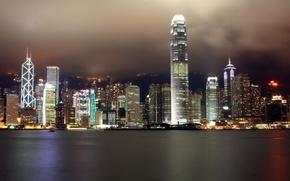 Wallpaper Hong Kong, skyscrapers, night, Lights