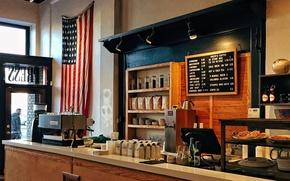Picture USA, United States, flag, counter, Ohio, America, Dayton, United States of America, coffee machine, beverages, …