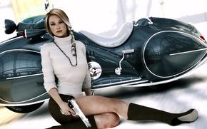 Picture girl, gun, feet, skirt, moped, blonde, scooter