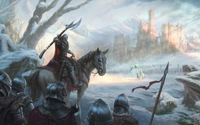 Wallpaper cold, winter, snow, castle, horse, army, battle, knight, king