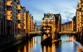 Picture lights, Germany, reflection, architecture, harbor, blue hour, Memory city, Hamburg