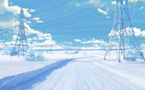 Picture road, wire, Winter, art, electricity