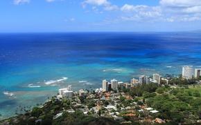 Picture the city, the ocean, skyscrapers, Hawaii, hawaii, coast., Honolulu