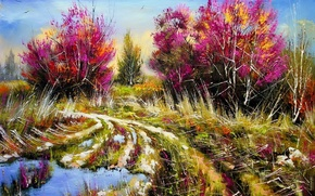 Picture road, trees, landscape, picture, spring, morning, puddles, painting, Khodukov, spatula