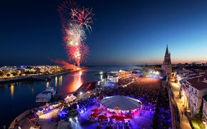Wallpaper La Rochelle, night, France, fireworks, Independence Day, Poitou-Charentes, salute