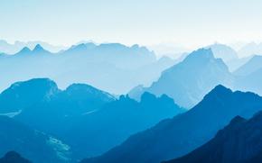 Wallpaper nature, mountains, haze, paint, fog
