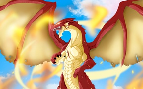 Picture fire, flame, game, sky, anime, cloud, fight, dragon, fang, asian, manga, fire dragon, japanese, Fairy …