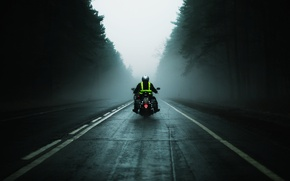 Picture road, fog, the way, mediocrity, motorcycles, mood, speed, motorcycle, driver, bike, mood