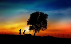 Picture sunset, girls, tree, silhouettes