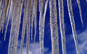 Wallpaper winter, the sky, macro, icicles