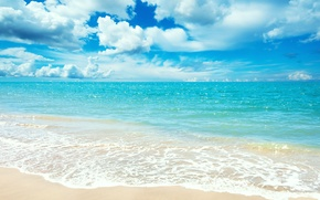 Wallpaper sand, sea, beach, summer, the sky, clouds, landscape, horizon, turquoise, Blue sea