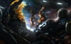 Wallpaper space, stars, weapons, Shuttle, armor, Art, landing