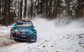 Picture Ford, Winter, Trees, Snow, Turn, Ford, Skid, WRC, Rally, Fiesta