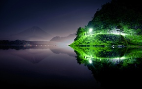 Picture the sky, mountains, night, lights, lake