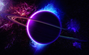 Picture light, nebula, the universe, color, planet, ring