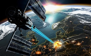Wallpaper earth, war, satellite, explosions, ray, missiles, ruins, destruction