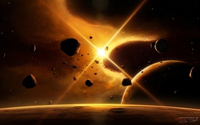 Picture space, stars, rays, light, planet, asteroids, space, universe, light, satellites, stars, planets