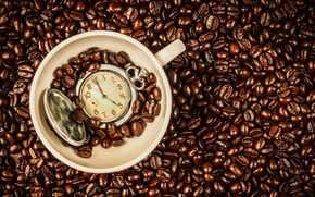 Wallpaper grain, Cup, watch, time, coffee, beans, coffee