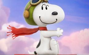 Picture cinema, sky, puppy, hat, dog, clouds, cartoon, movie, film, cute, sugoi, subarashii, moe, official wallpaper, …